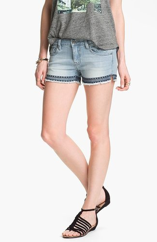 Vigoss Aztec Embroidered Cutoff Shorts (Juniors)
