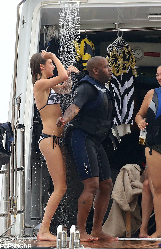 Cara Delevingne danced with a friend in the yacht's shower.