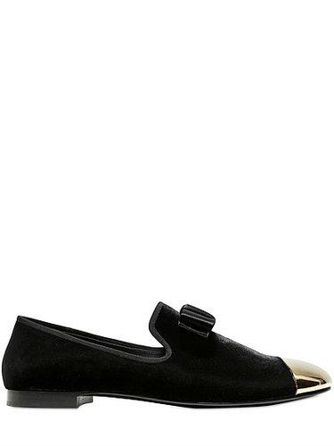 Pointed Gold Toe Velvet Loafers
