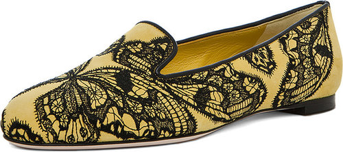 Alexander McQueen Butterfly Print Flat in Bright Yellow & Black