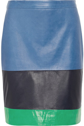 Band of Outsiders Color-block leather skirt