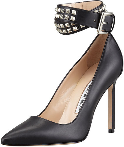 MANOLO BLAHNIK Belta Studded Ankle Wrap Pump