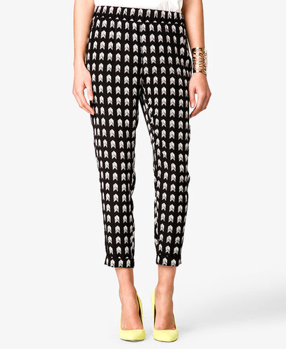 FOREVER 21 Arrowhead Print Satin Trousers