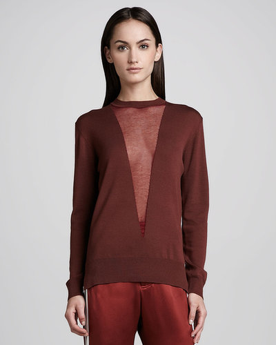 Adam Lippes Sheer-Plunge Illusion Sweater, Copper/Rust