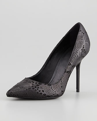 Burberry Laser Cut Lace-Detailed Pump, Black