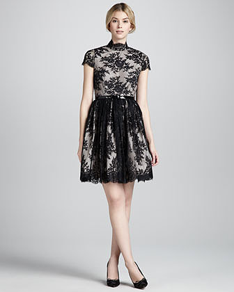 Alice + Olivia Jayna Lace Keyhole Dress, Black