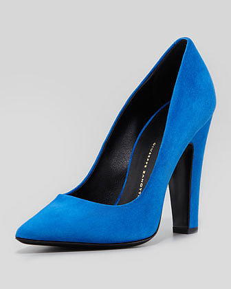Giuseppe Zanotti Suede Pointed-Toe Thick-Heel Pump, Blue