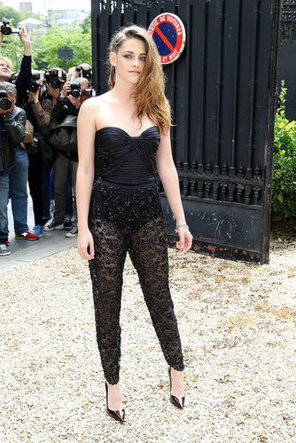 Stewart played the peekaboo card, donning a black silk bustier with sheer embellished pants, both by Zuhair Murad, at the designer's 2013 couture show in Paris.