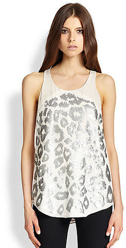 Rebecca Taylor Leo Silk Sequined Leopard-Patterned Top