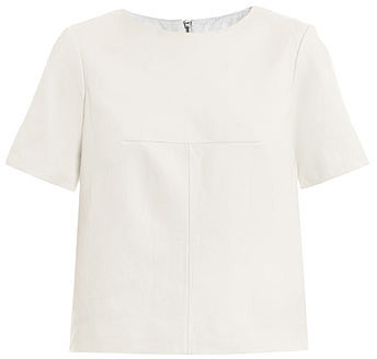 Tibi Leather and canvas short-sleeve top