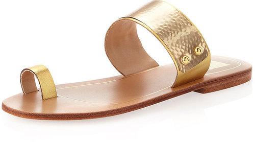 Dolce Vita Sachi Metal-Strap Flat Slip-On Sandal, Gold