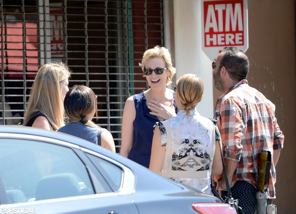 Jane Lynch, Dianna Agron, and Jenna Ushkowitz met for brunch in LA with a group of friends.