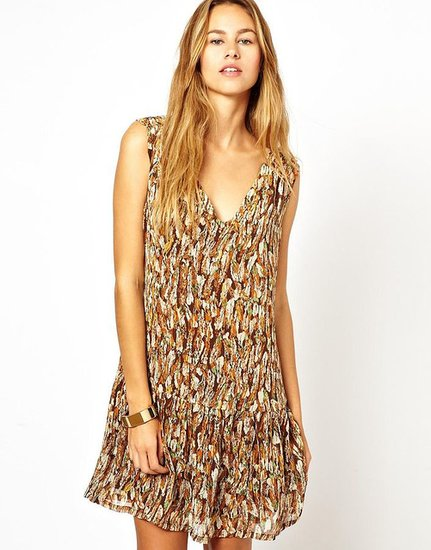 See U Soon Feather Print Dress With Studs