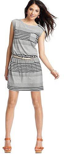 Mod Stripe Zip Shoulder Cap Sleeve Dress