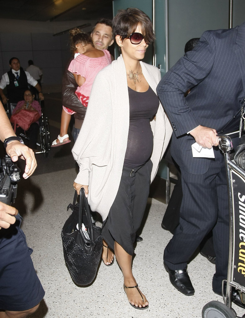 Halle Berry, Olivier Martinez, and Nahla arrived at LAX.