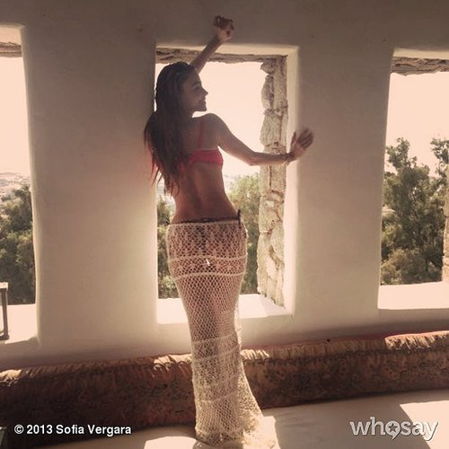 Sofia Vergara showed off her bikini body in a red suit while relaxing in Greece. Source: Sofia Vergara on WhoSay