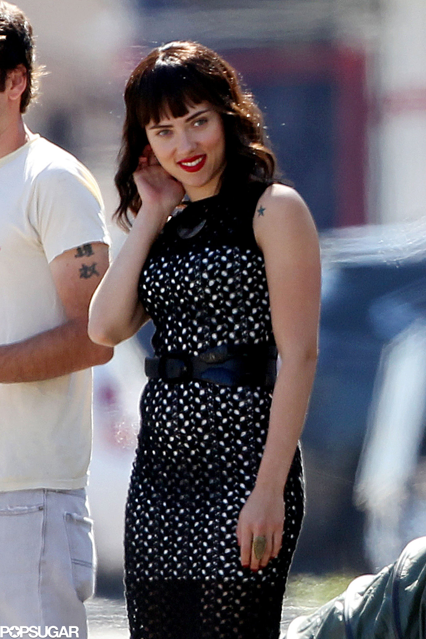 Scarlett Johansson wore a dark wig on the set of her new film, Chef, in LA.