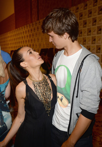 Maggie Q and Ansel Elgort posed together at the press line for Ender's Game and Divergent.