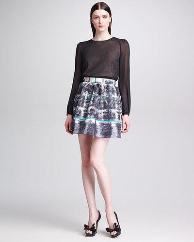 RED Valentino Tartan Plaid-Print Faille Skirt