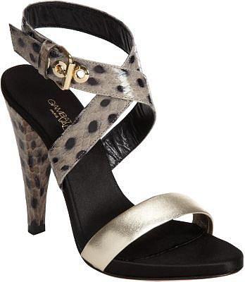 Giambattista Valli Snakeskin Criss-Cross Ankle Strap Sandal