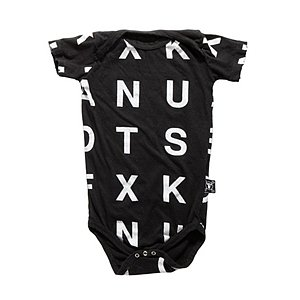 NUNUNU Baby puts a graphic edge on the traditional cotton onesie ($36).
