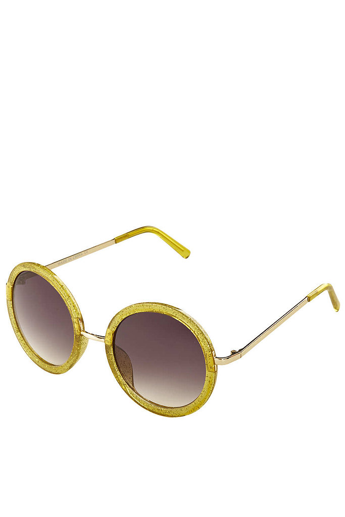 When it comes to sunglasses, glitter is in. Hop on the trend wagon with this Topshop pair ($32).