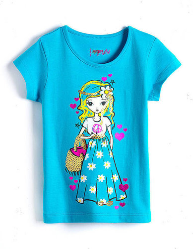 RUNWAY GIRL Girls 2-6x Sequined Printed Cotton Tee
