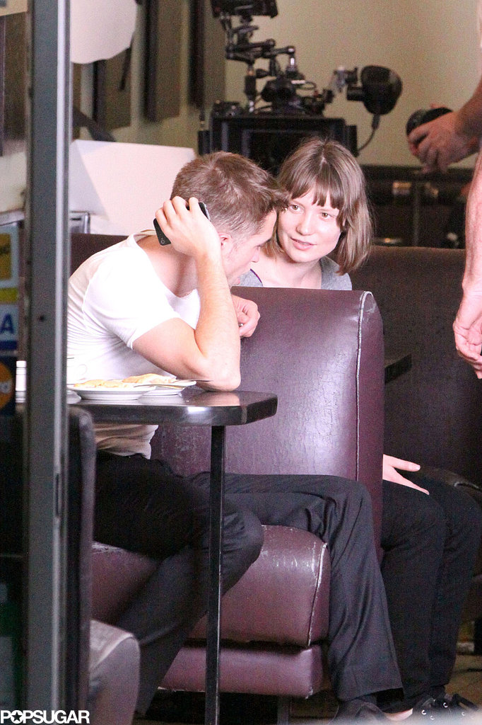 Robert Pattinson and Mia Wasikowska filmed scenes for the new film Maps to the Stars in Toronto on Friday.