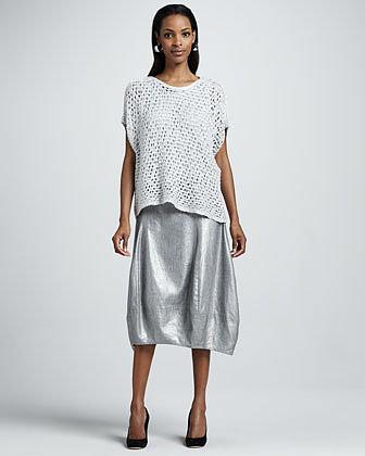 Eileen Fisher Glimmer Lantern Midi Skirt, Petite