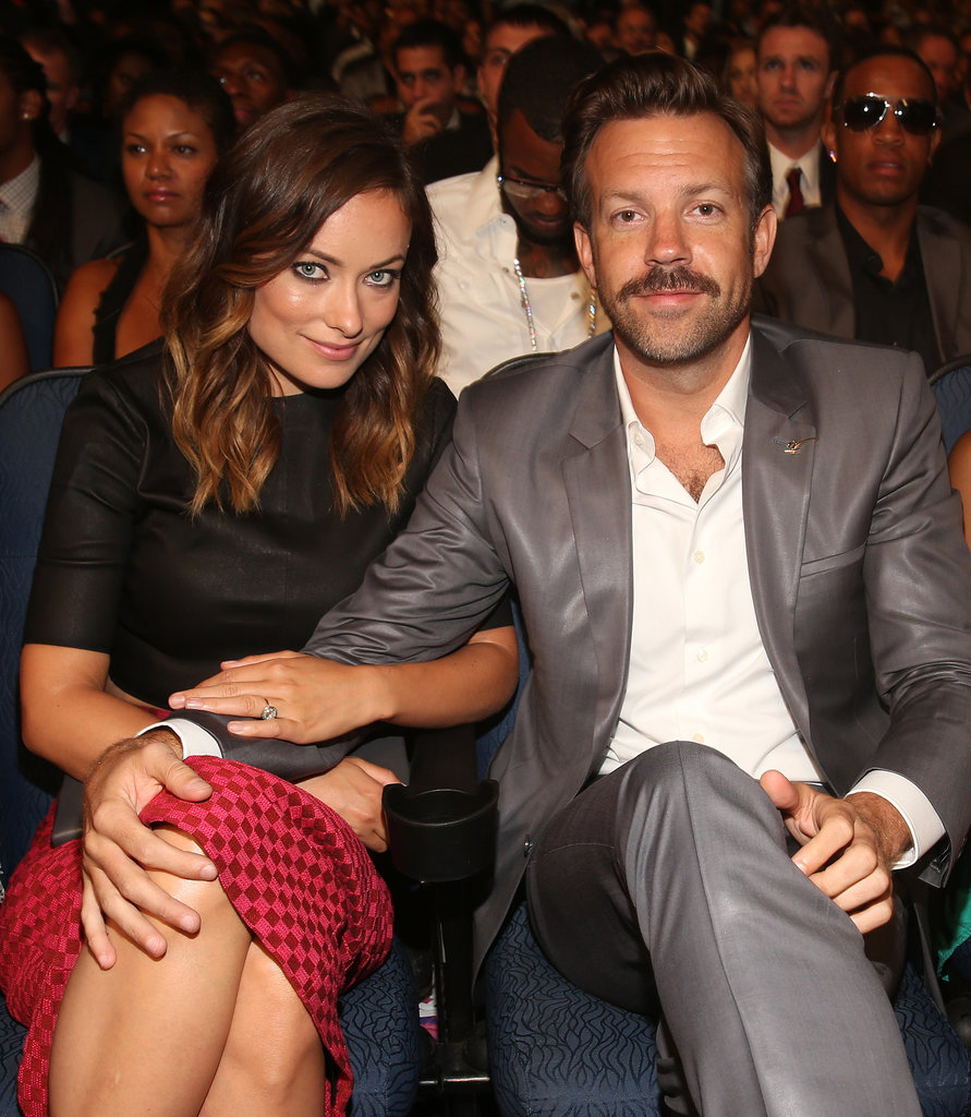 Super-affectionate couple Olivia Wilde and Jason Sudeikis (rockin' a serious mo') held tight at the 2013 ESPY Awards in LA on Thursday July 18.