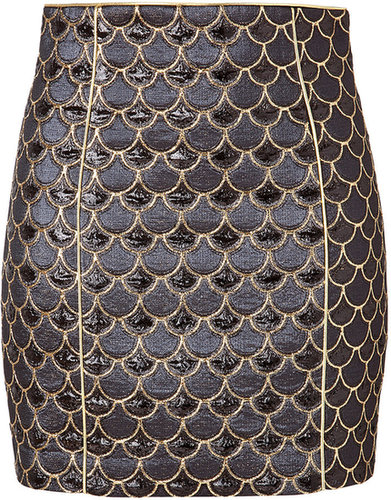 Balmain Scalloped Skirt in Gold/Black