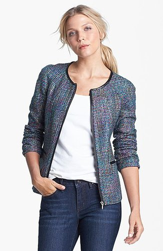 Amber Sun Zip Front Tweed Jacket   Nordstrom