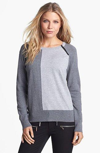 Amber Sun Zip Trim Colorblock Crewneck Sweater   Nordstrom