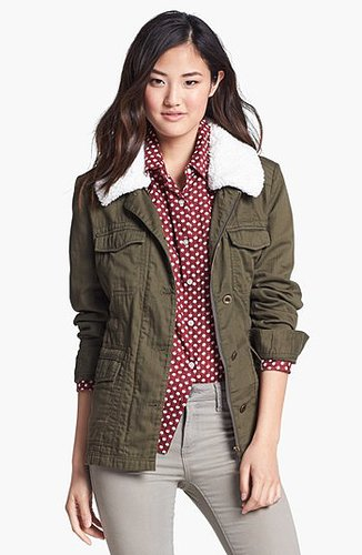 Caslon® Removable Faux Shearling Collar Utility Jacket | Nordstrom