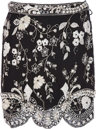 Genny Vintage floral beaded mini skirt