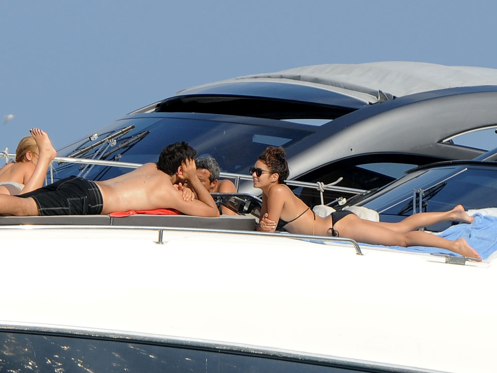 Vanessa Hudgens relaxed on a yacht with Eli Roth.