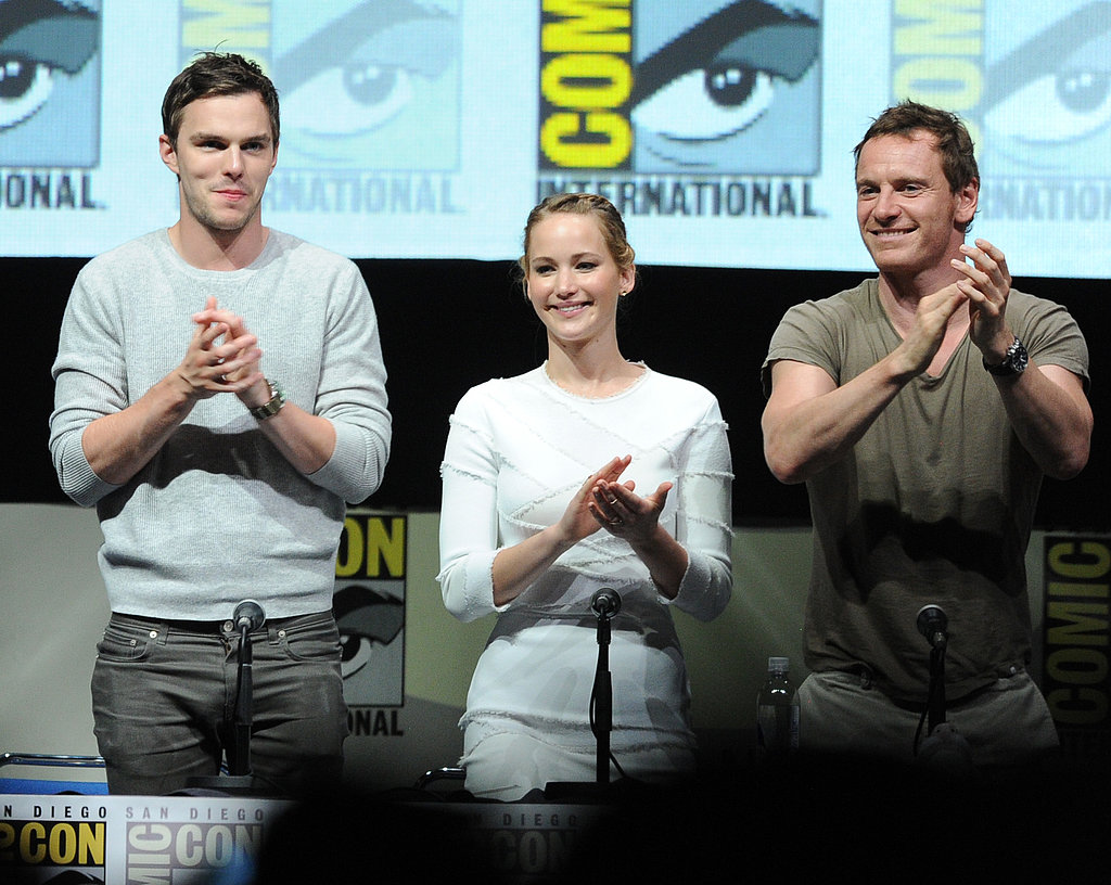 Jennifer Lawrence reunited with boyfriend Nicholas Hoult at the Comic-Con panel for X-Men: Days of Future Past.