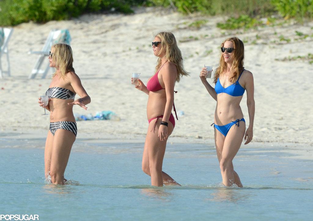 Cameron Diaz, Kate Upton, and Leslie Mann filmed in their bikinis in the Bahamas.