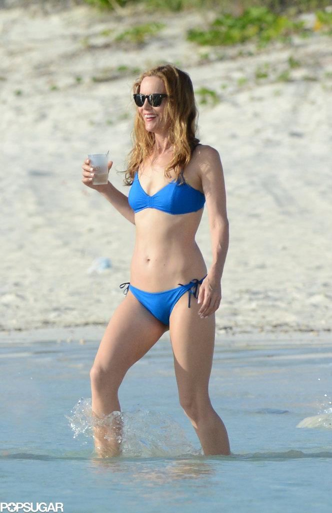 Leslie Mann showed off her fit frame in a blue bikini.