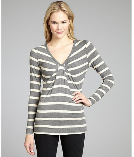 Wyatt grey and ivory stripe jersey pleated v-neck top