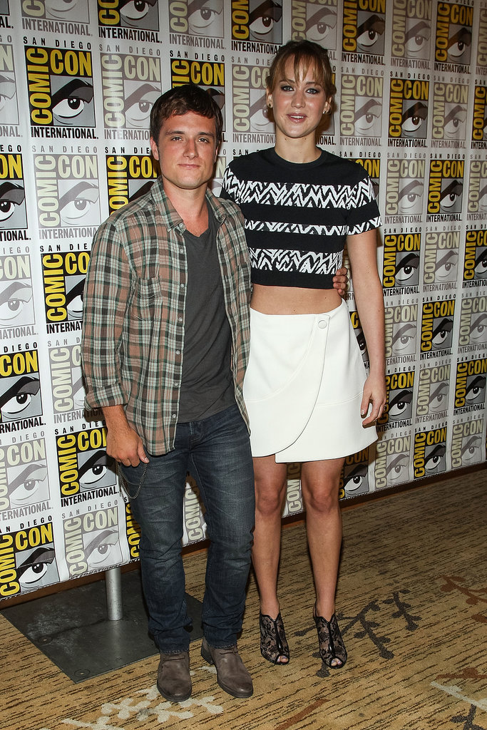 Josh Hutcherson and Jennifer Lawrence posed together at the press line.