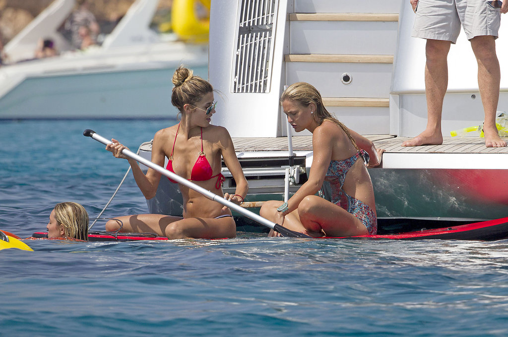 Bar Refaeli went paddleboarding with friends.