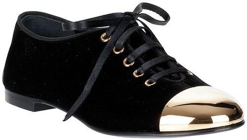 Giuseppe Zanotti Velvet cap-toe lace-up flat