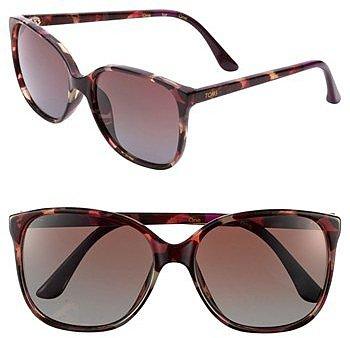 TOMS 'Sandella - Classic 202' 57mm Sunglasses Pink Tortoise One Size