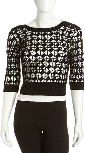 Isaac Mizrahi Cropped Crochet Sweater, Black