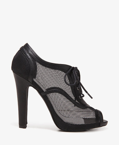 FOREVER 21 Mesh Lace-up Booties