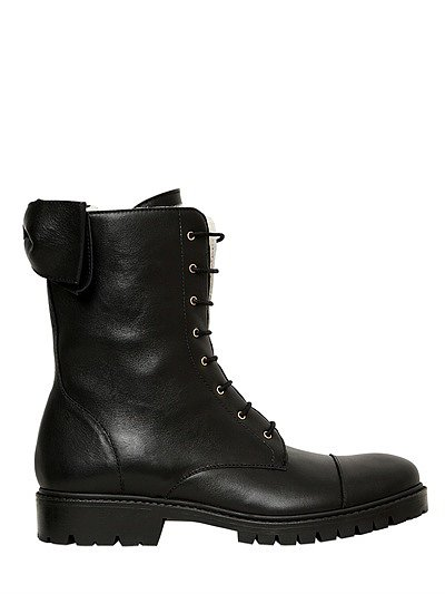 30mm Calfskin Lace Up Biker Boots