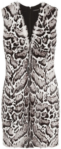 Christopher Kane Animal-print goat and leather dress