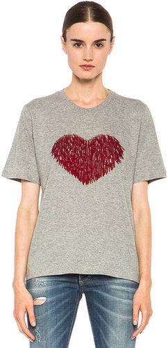 Markus Lupfer Sequin Heart Embroidered Tee in Grey