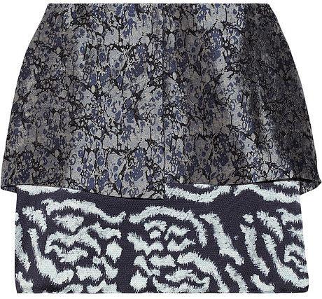 Michael van der Ham Layered silk and wool-blend jacquard mini skirt